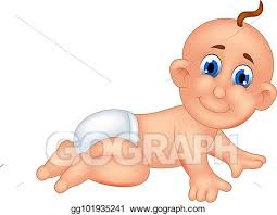 funny baby cartoon crawl with smiling