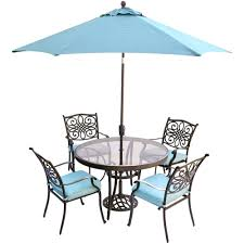 patio ideas hanover traditions 5 piece aluminum outdoor dining set with round glass top table