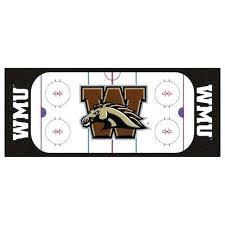western university white 3 ft x 6 indoor hockey rink rug ice area n