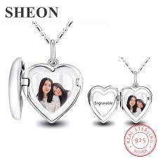 <b>SHEON</b> Personalized Engraved Photo Heart Locket Necklace <b>925</b> ...