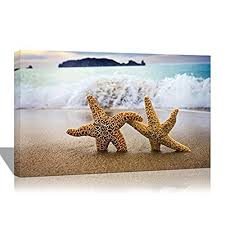 purple verbena art 10 x14 starfishes shell blue sea on beach seascape pictures photo prints on canvas modern home decor wall art giclle stretched and  on starfish wall art amazon with starfish art amazon