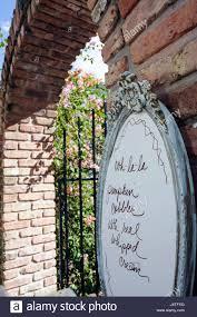 mount dora florida mt historic downtown garden gate tea room tearoom restaurant business garden entrance menu plaque brick arch