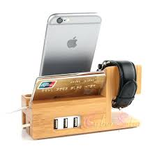 wooden phone charging station for apple watch bamboo charging station stand charger dock bucket wood phone