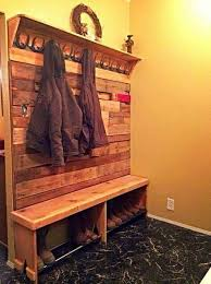 Wooden Coat And Shoe Rack Entryway Bench With Coat Boot Rack Made With Repurposed Pallets 53