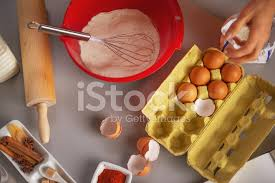 Closeup On Table With Flavoring Eggs Dough Whisk Rolling Pin Stock