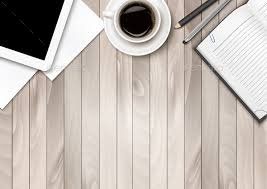 Office Workspace With Coffee Tablet Paper and Pens by almoond