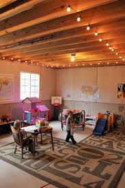 unfinished basement lighting ideas. Basement Play Room String Lights Kid Cave Unfinished Toys Storage And Organization Lighting Ideas E