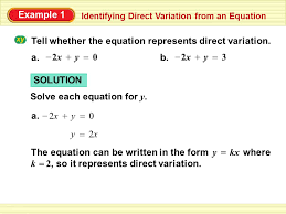 direct variation form tell whether the equation represents direct variation ppt video