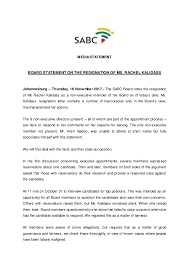 Resignation From Board Board Statement On The Resignation Of Ms Rachel Kalidass