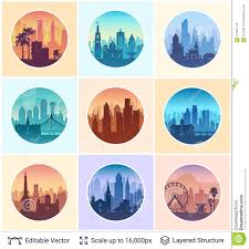 Collection Of Famous City Scapes Editorial Image Illustration Of
