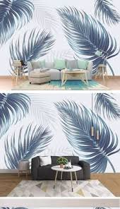 <b>Nordic</b> style blue <b>hand</b>-<b>painted</b> fresh <b>plant</b> leaves living room wall ...
