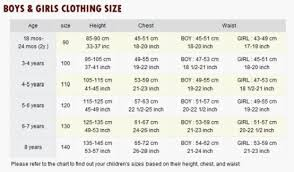 Children S Clothing Size Chart Size Guide Myer Online
