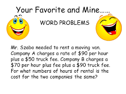 word problems mr szabo needed to a moving