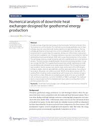 Geothermal Heat Exchanger Design Pdf Numerical Analysis Of Downhole Heat Exchanger Designed