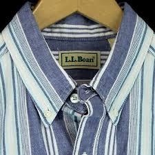 ll bean long sleeve shirt white blue striped oxford cotton mens l