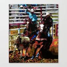 team ropers stretched canvas art prints cowboy home decor team roper personalized tumblers