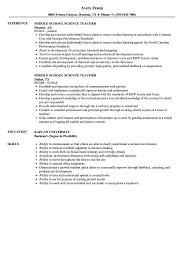 Middle School Science Teacher Resume Samples | Velvet Jobs