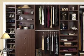 reach in closet in chocolate apple finish with customized drawers