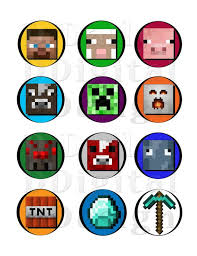 Minecraft Diy Printable Stickers Cakecupcake Toppers Party Favors
