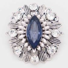 20mm design snap silver plated with blue rhinestone kc6846 snaps jewelry
