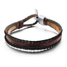handmade leather cool punk style leather bracelet for men bracelet retro fashion tidal wave of men must n909 charm bangle bracelets artificial bangles from