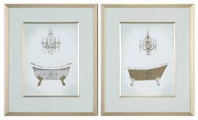 2 piece ornate gold bath tub room wall