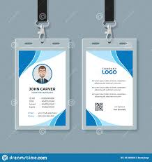 Company Id Card Template Simple Blue Office Id Card Template Stock Vector