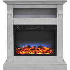 wall mounted console sienna electric fireplace multi color led insert and white mantle quick view luminara candles with remote