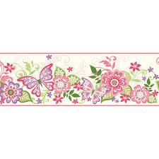 Flower Wall Paper Border Chesapeake Kendra Pink Butterflies Blooms Trail Wallpaper Border