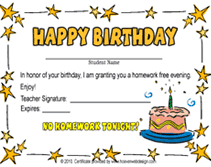 free happy birthday template printable happy birthday no homework pass templates