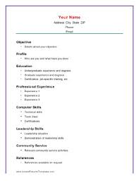 Blank Basic Resume Template Academic Elemental With Computer Skills