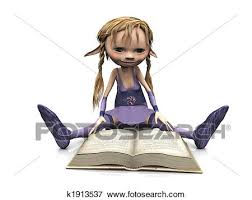 a cute cartoon elf with blonde hair sitting on the floor and reading a book