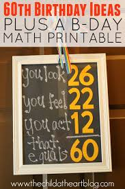 60th birthday ideas for a guy free birthday math printable and more diy birthday party ideas