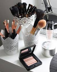 17 gorgeous makeup storage ideas beauty vanity organization ideas lace  detail cups as brush holders
