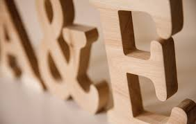 large wooden letters made from solid oak