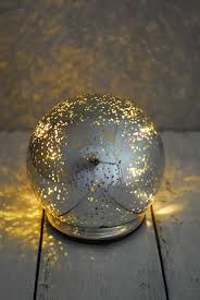 Mercury Glass Globes With Lights Led Orb Light Mercury Glass Silver 4 75in In 2019 Mercury