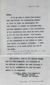 planning the bomb the national archives letter from prime minister winston churchill to hm queen elizabeth 16th 1954 prem 11 747