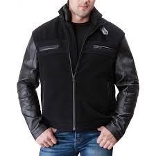 black leather sleeve jacket zoom men s