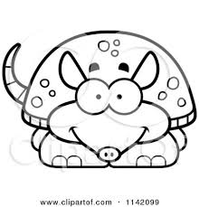 Small Picture Cartoon Clipart Of A Black And White Happy Armadillo Vector