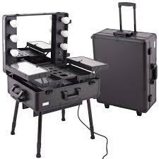 amazon black pro studio aluminum makeup artist rolling wheeled organizer trolley cosmetic train case table w