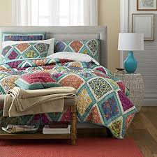 Amazon.com: DaDa Bedding Collection Reversible Real Patchwork ... & DaDa Bedding Collection Reversible Real Patchwork Cotton Fairy Forest Glade  Floral Quilt Bedspread Set, Turquoise Adamdwight.com
