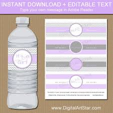 Decorating Water Bottles For Baby Shower Lavender Grey Baby Shower Water Bottle Labels Printable 29