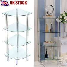 Glass Corner Shelves Uk 100 Tier Clear Glass Corner Shelf Unit Bathroom Hall End Coffee 97