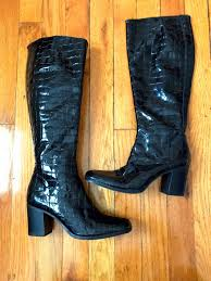 90 s black patent leather tall boot 1