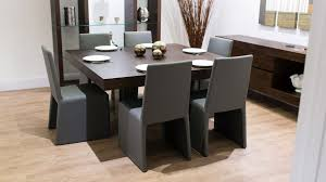 brilliant 8 seater square dark wood dining table and chairs funky glass legs on seat dining room