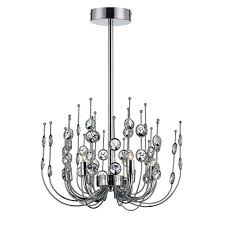 vice 6 light chrome and clear chandelier
