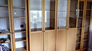 oak bookshelves with glass doors double ikea oak veneer billy bookcase with glass shelves and half