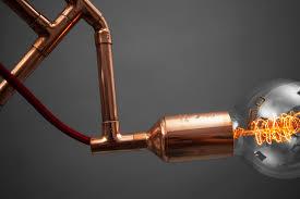 handmade copper pendant lamp with retro edison bulb