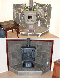 Tiled Hearth Designs For Wood Stoves Free Standing Wood Stove Fireplace Surround Project We Tore