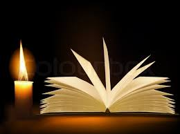 old book and a candle vector vector